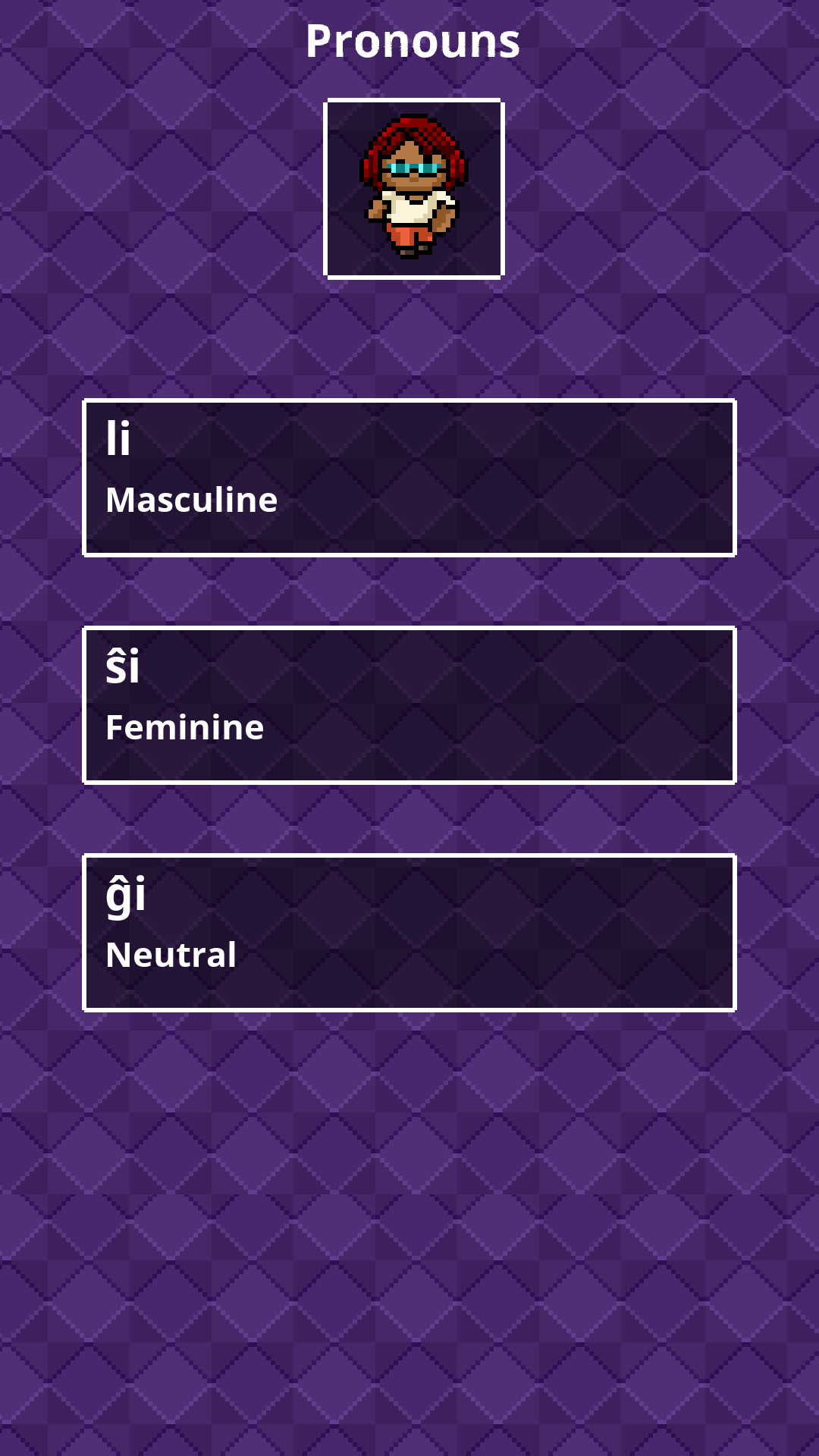 Select a pronoun (for the target language)